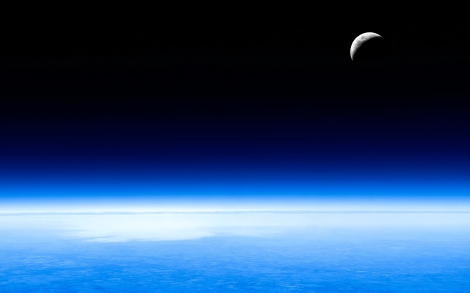 Moon over the Earth