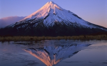Winter sunrise over Mt. Taranaki from the Pouakai Range, Egmont National Park, New Zealand