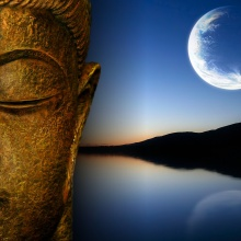 Buddha, Lake & Moon